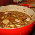 Barley Soup with Shiitake Mushrooms and Chicken Sausage