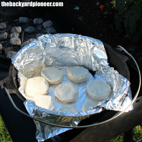 Baking biscuits in a traditional Dutch Oven